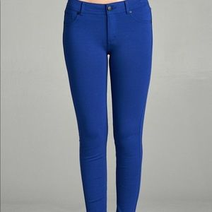 Pants - Blue Ponte Skinny Pants